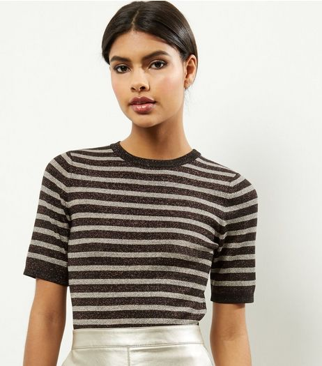 Bronze Metallic Stripe T-Shirt  | New Look
