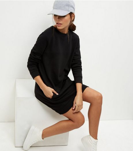 Black Longline Sweater Dress | New Look