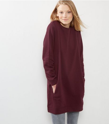 Burgundy Double Pocket Longline Sweater | New Look