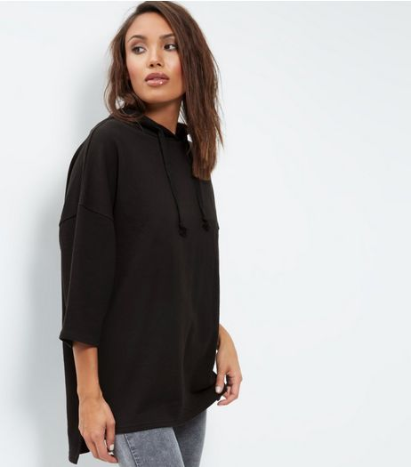 Black Cotton 3/4 Sleeve Oversized Hoodie | New Look