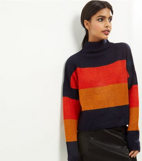 Black Colour Block Stripe Turtle Neck Cropped Jumper  | New Look