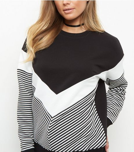 Black Chevron Stripe Sweater  | New Look