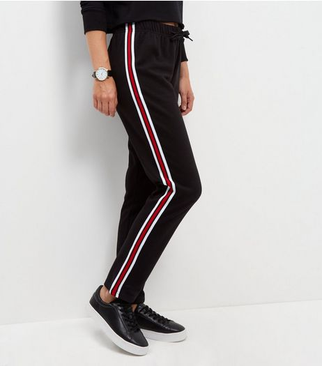 Black Tape Stripe Straight Leg Joggers  | New Look