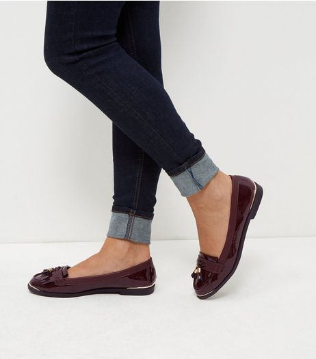 Burgundy Patent Metal Trim Loafers  | New Look