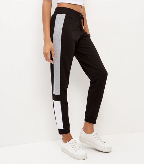 Black Colour Block Side Joggers  | New Look