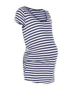 Maternity Blue Stripe T-Shirt | New Look