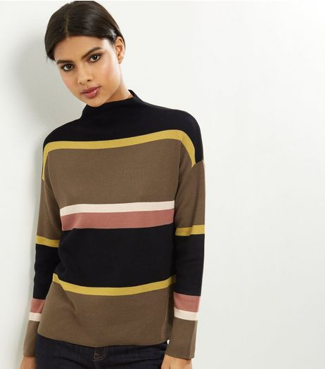Khaki Fine Knit Colour Block Stripe Funnel Neck Jumper  | New Look