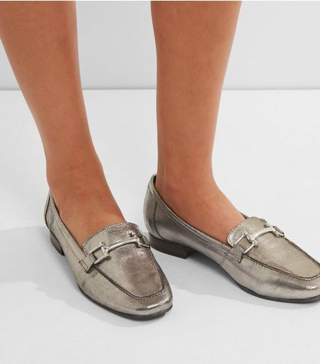 Pewter Metallic Leather Metal Bar Loafers | New Look