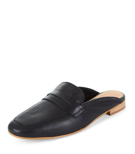 Black Premium Leather Loafer Mules  | New Look