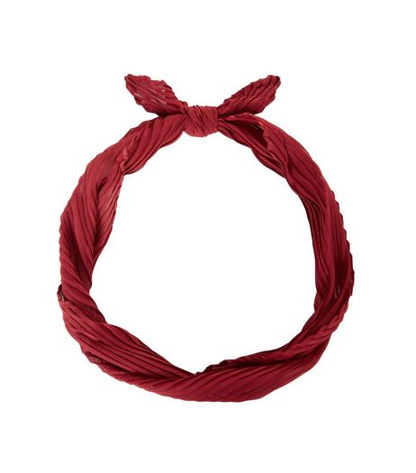 Red Pleated Neck Scarf | New Look