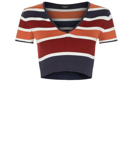 Petite Navy Stripe V Neck Crop Top | New Look