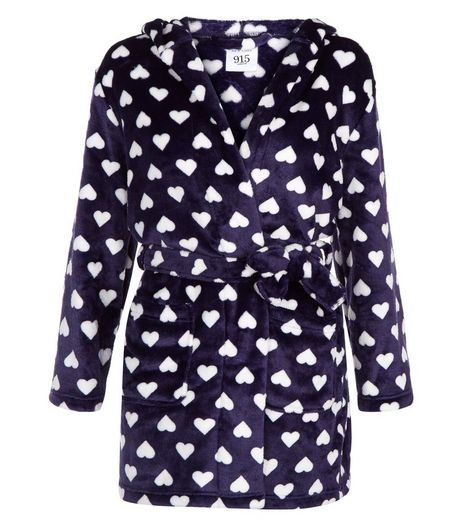 Teens Navy Heart Print Dressing Gown  | New Look