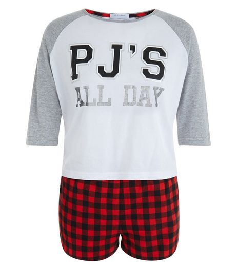 Teens Red Check Print Shorts & Raglan T-Shirt Set | New Look