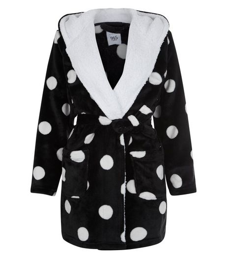 Teens Black Borg Trim Spot Print Robe | New Look