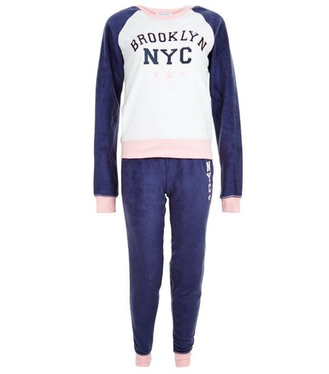 Teens Raglan Brooklyn/NYC Print Pyjama Set | New Look