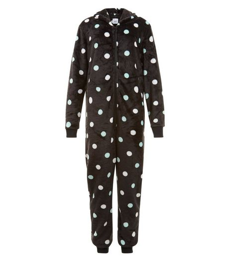 Teens Black Spot Print Hooded Onsie | New Look
