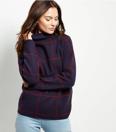 Blue Check Turtle Neck Long Sleeve Jumper  | New Look