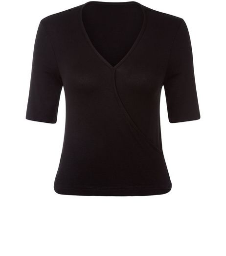 Teens Black Wrap 1/2 Sleeve Top | New Look