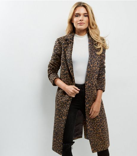 Tall Brown Animal Print Longline Coat | New Look