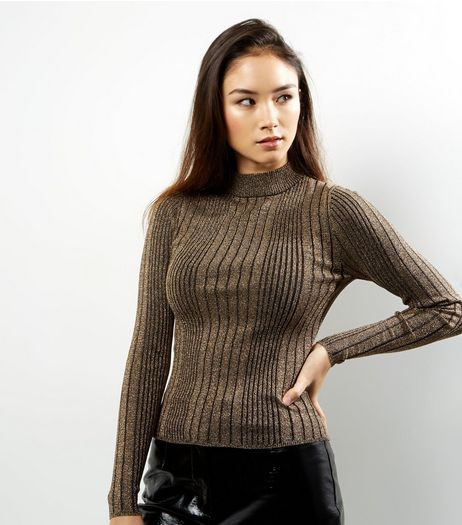 Bronze Metallic Ribbed Jumper | New Look
