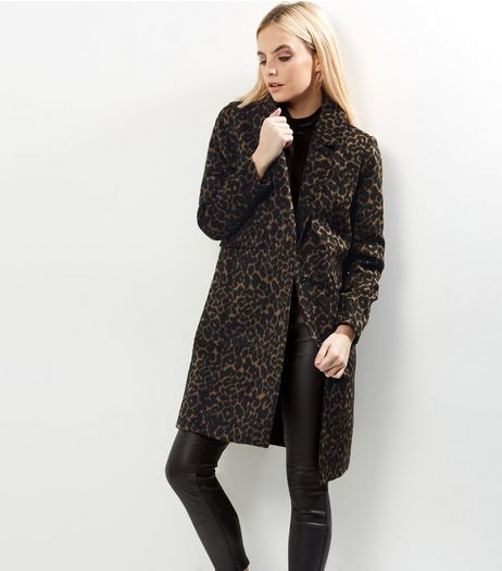 Petite Brown Animal Print Longline Coat | New Look