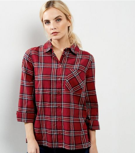 Petite Red Check Rolled Sleeve Shirt  | New Look