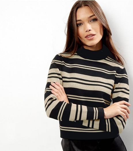 Black Metallic Stripe Long Sleeve Jumper | New Look