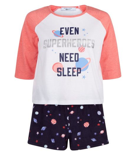 Teens White Even Superheroes Need Sleep Pyjama Set  | New Look