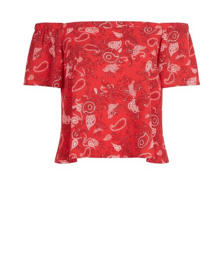 Petite Red Paisley Print Bardot Neck Top | New Look