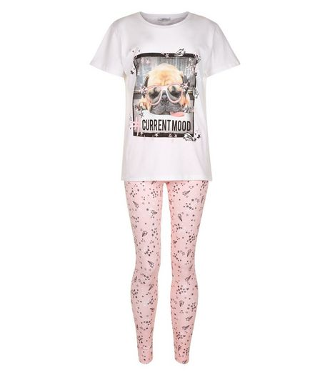 Teens Pink Pug Print Pyjama Set | New Look