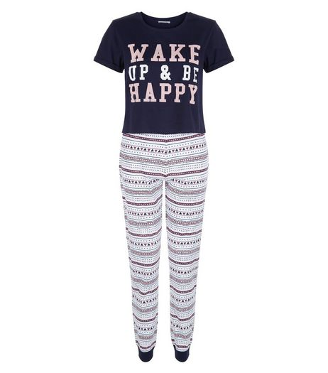 Teens Blue Wake Up Fairisle Print Pyjama Set | New Look