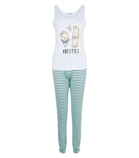 Teens Mint Green Besties Stripe Pyjama Set | New Look
