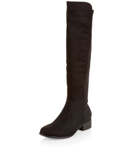 Teens Black Suedette Slim Leg Knee High Boots | New Look