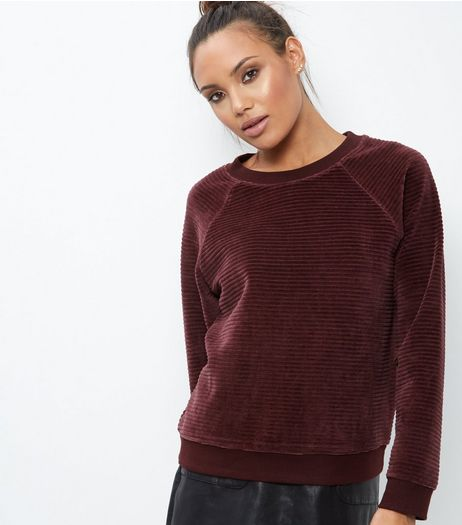 Burgundy Velour Ribbed Sweater | New Look