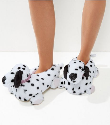 White Dalmatian Slippers | New Look