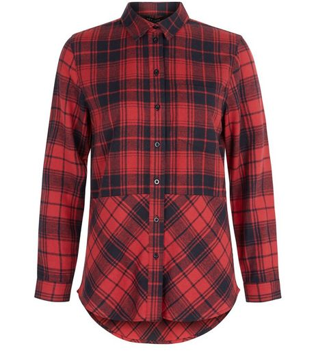 Teens Red Mixed Check Longline Shirt | New Look