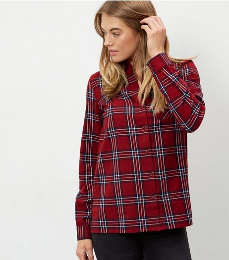 Tall Red Check Long Sleeve Shirt  | New Look