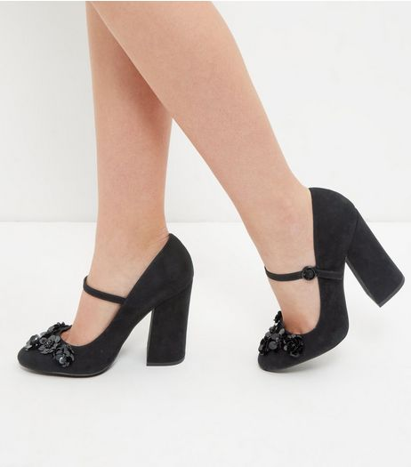 Black Floral Embellished Ankle Strap Block Heels | New Look