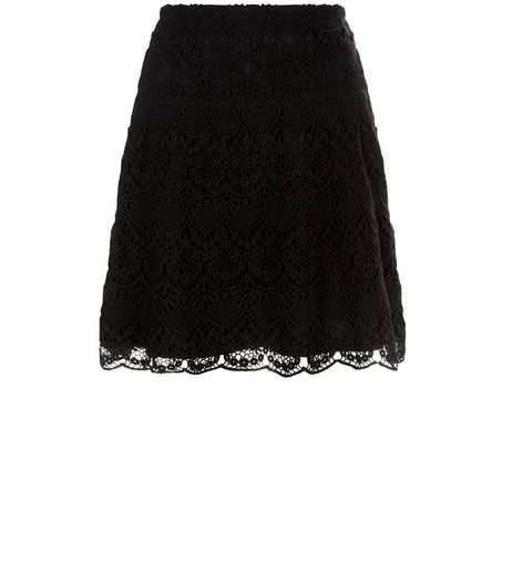 Apricot Black Scallop Hem Crochet Skirt | New Look