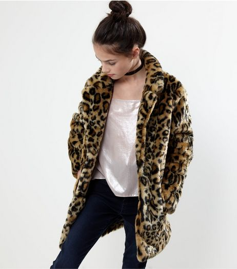 Brown Leopard Print Faux Fur Coat | New Look