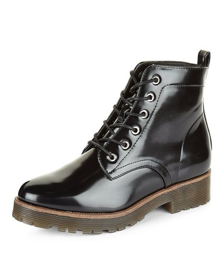 Teens Leather Look Lace Up Ankle Boots | New Look