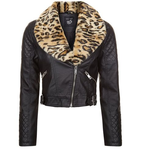 Teens Black Leather Look Leopard Faux Fur Trim Jacket | New Look