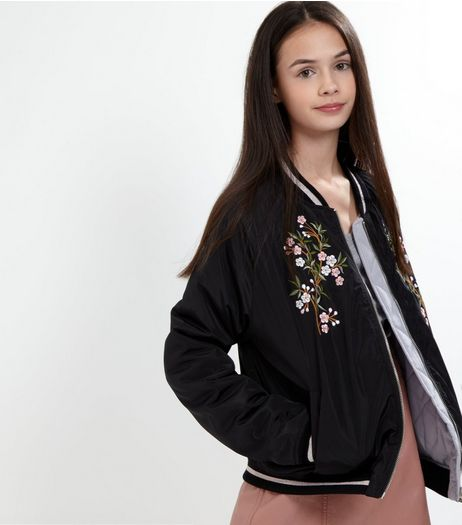Teens Black Reversible Embroidered Bomber Jacket  | New Look