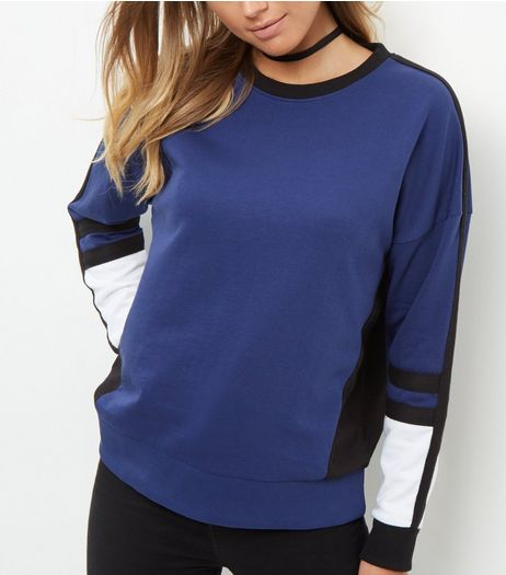 Navy Colour Block Sweater | New Look