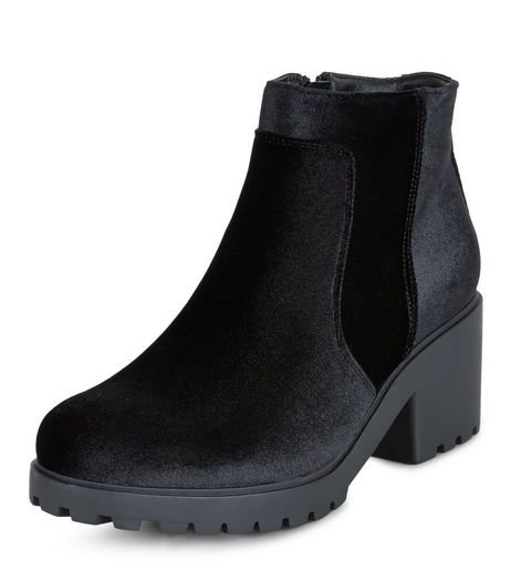 Teens Black Velvet Heeled Chelsea Boots | New Look