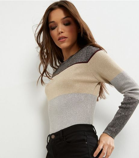 Grey Metallic Colour Block Long Sleeve Jumper  | New Look