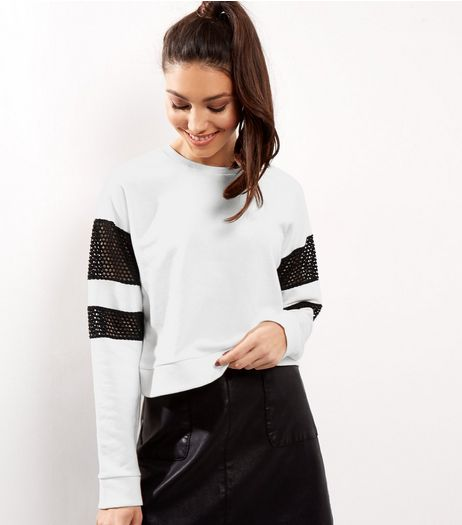 Cream Mesh Panel Long Sleeve Cropped Sweater | New Look