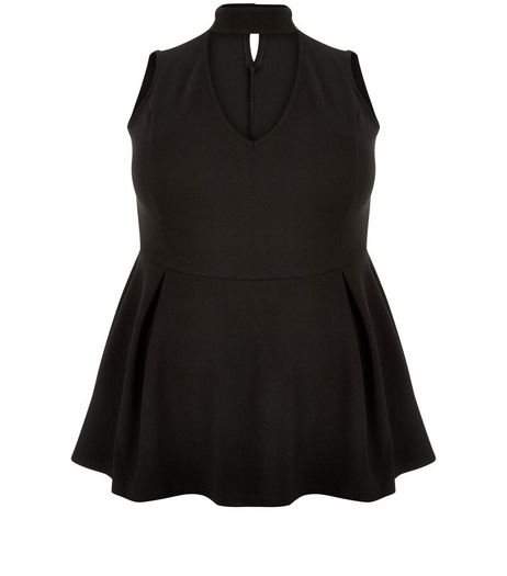 Curves Black Cut Out Peplum Top | New Look