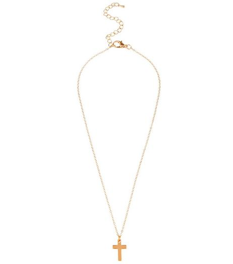 Gold Cross Pendant Necklace | New Look
