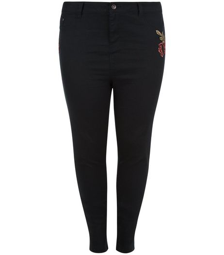 Curves Black Rose Embroidered Skinny Jeans | New Look
